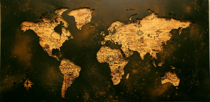 Mapa antiguo que representa los viajes de Cristobal Colón