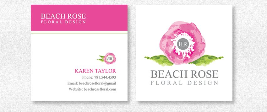 Square Business Card Design for Beach Rose Floral Design by MavroCreative LLC