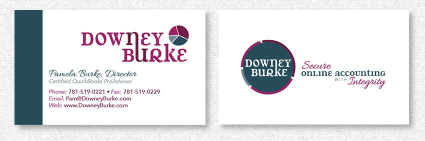 Business Card Design for DowneyBurke by MavroCreative LLC in Hingham MA