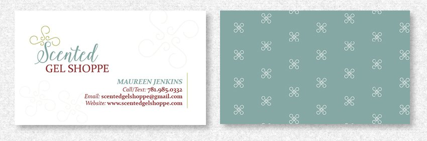 Business Card Design for Scented Gel by MavroCreative LLC in Hingham MA