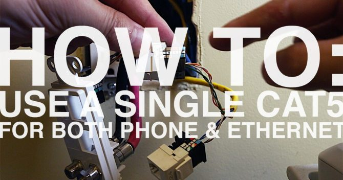 how to wire an ethernet and phone jack using a single cat5e