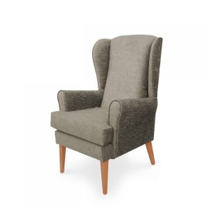 Mawcare - The Morecombe - high seat orthopedic Wingback fireside Armchair in Darcy Fawn fabric, Stain Resistant Finish, Waterproof, Breathable, Anti-microbial