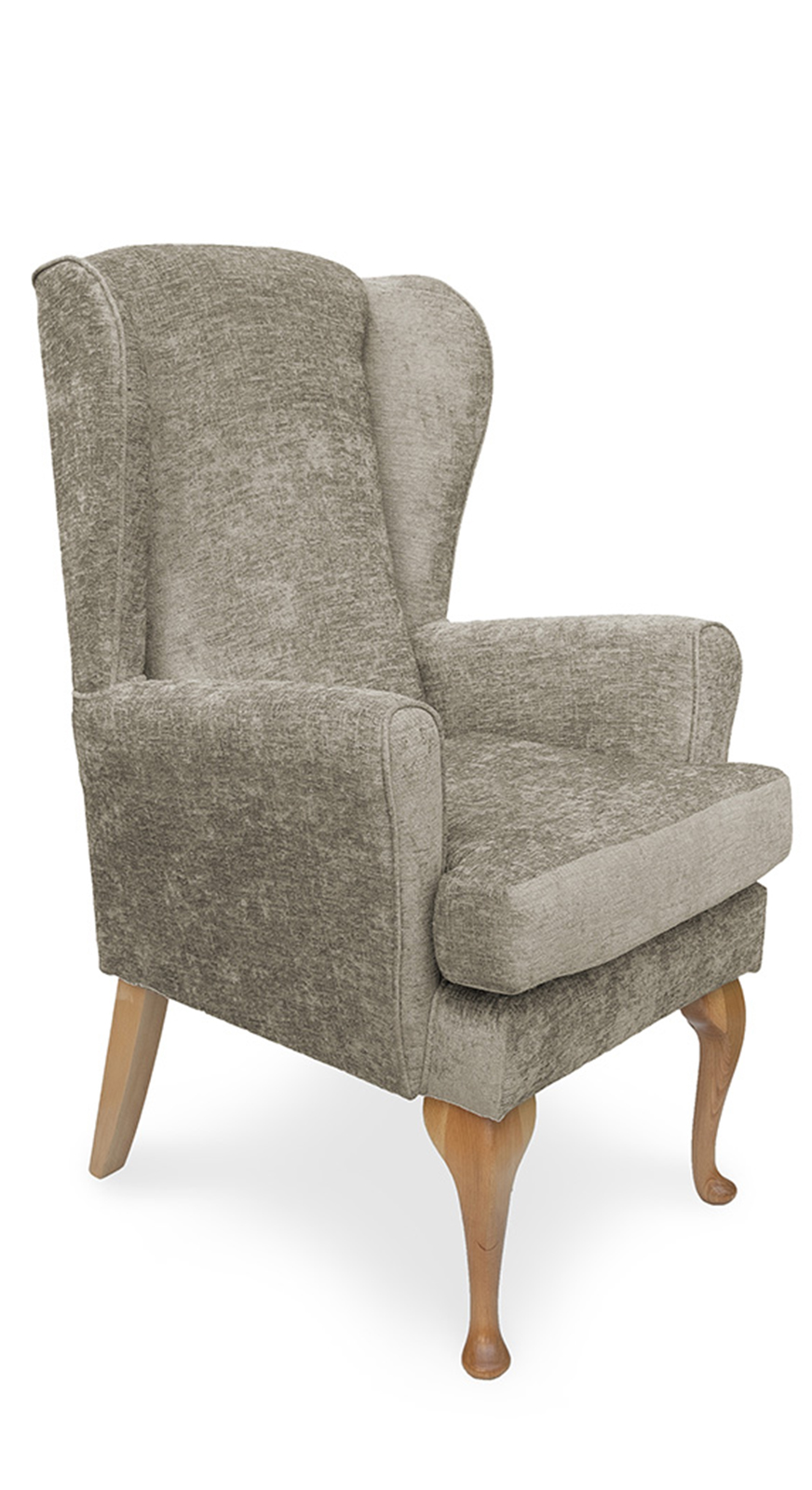 Mawcare - The Buckingham - high seat orthopedic Wingback fireside  Armchair in Darcy fawn, Stain Resistant Finish, Waterproof, Breathable, Anti-microbial