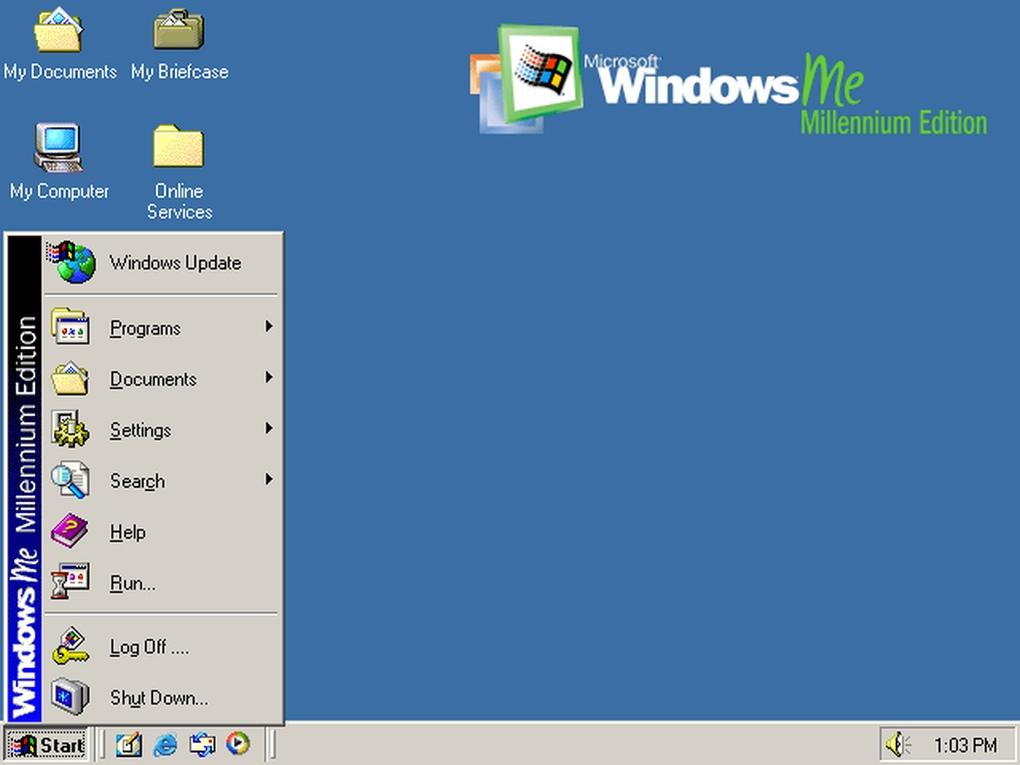 Windows ME (العام 2000) - في ويندوز ميلينيوم، ركزت مايكروسوفت أكثر على تحسين تجربة الملتي ميديا والوسائط الرقمية .. حيث كان أول ظهور لبرنامج Movie Maker في هذا الإصدار من ويندوز .. إلا أن هذا الإصدار عانى من مشاكل عدم الاستقرار.