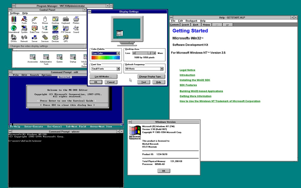 Windows NT 3.5 (العام 1994) - ويندوز NT 3.5 هو الإصدار الثاني من NT .. حيث كان نقطة تحول مايكروسوفت نحو قطاع الأعمال، بتقديم مزايا أفضل في الأمان ومشاركة الملفات.