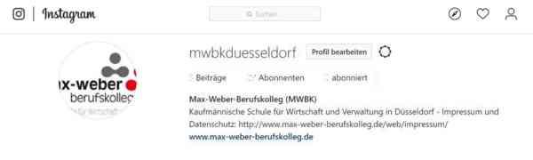 Das Max-Weber-Berufskolleg ist ab sofort als mwbkduesseldorf bei Instagram online