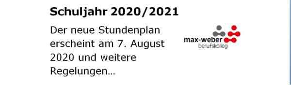 Start des neuen Schuljahres 2020/2021