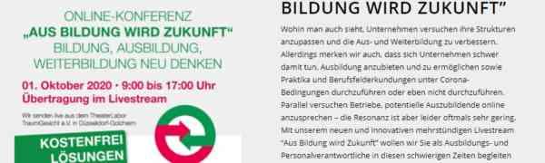 Aus Bildung wird Zukunft! - Livestream des Düsseldorfer Ausbilderkreises am Donnerstag, 1. Oktober 2020