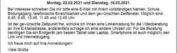 Studien- und Berufsberatung der Agentur für Arbeit Düsseldorf im Max-Weber-Berufskolleg - diesmal digital!