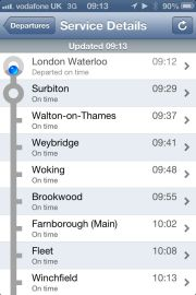 Train times app shows no Clapham Junction stop