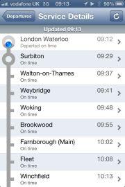 Train times app shows no Clapham Junction stop