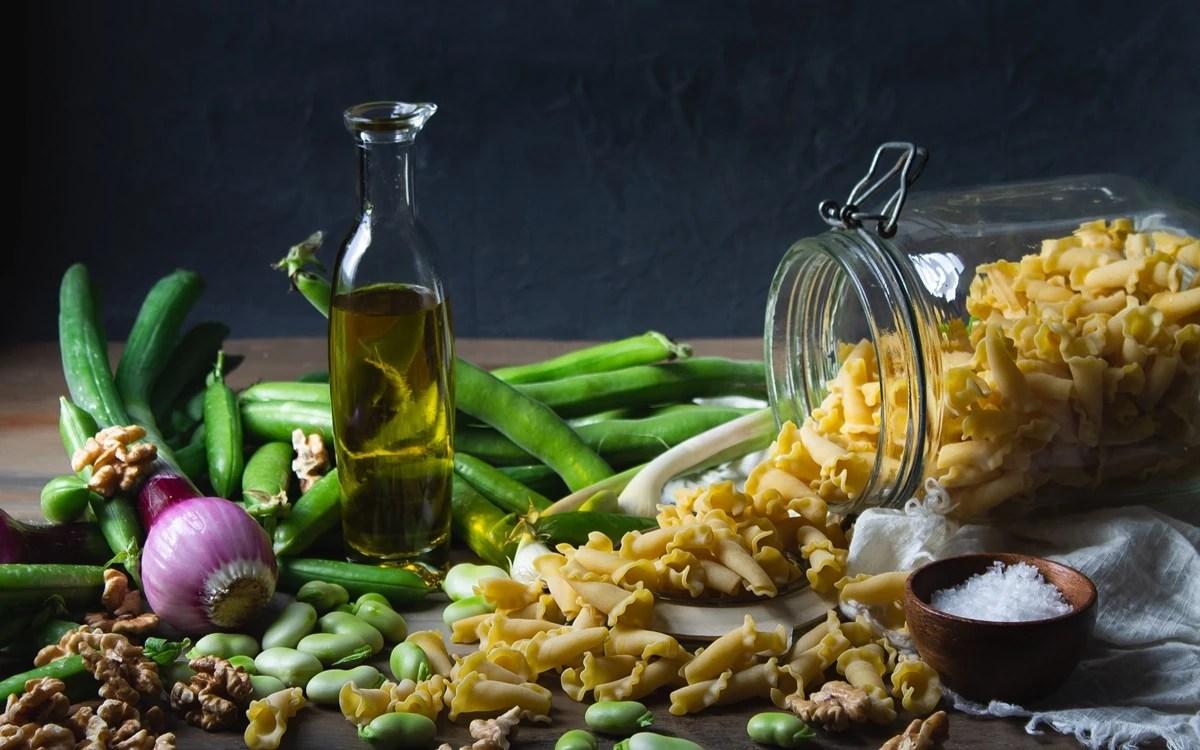 légumes pâtes et huile