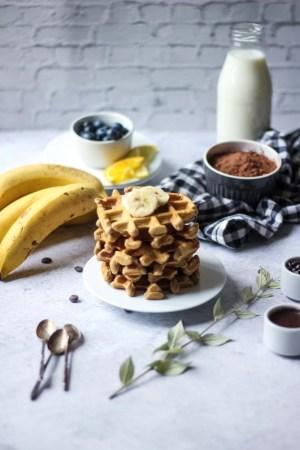 Présentation produit gaufres à la farine d'amande avec bananes