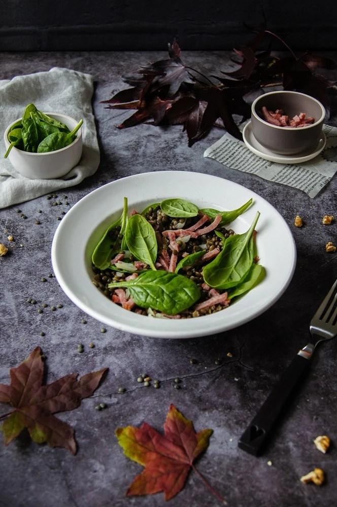 Salade de lentilles vertes et lardons