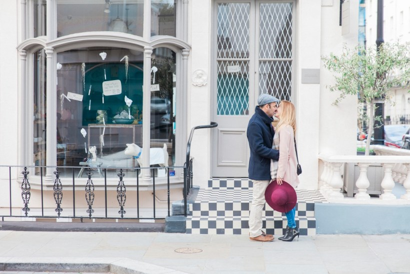 Couple Kissing on a Street during their Belgravia couple shoot