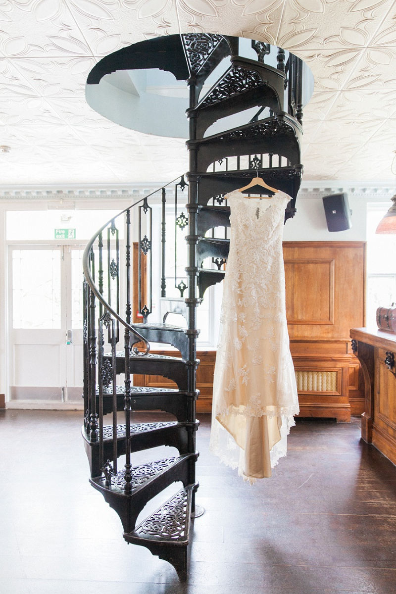 Lace Wedding Dress On The Spiral Staircase at Belair House