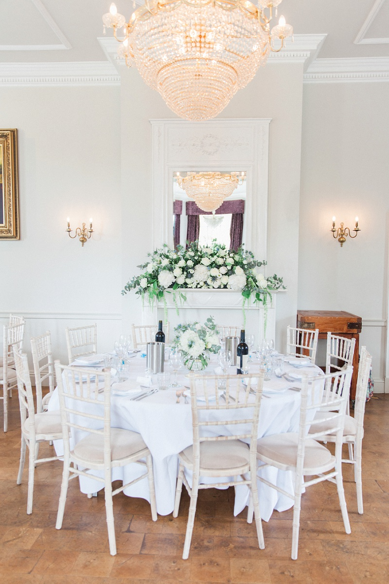 Main Table Decorated in White and Blue at Belair House