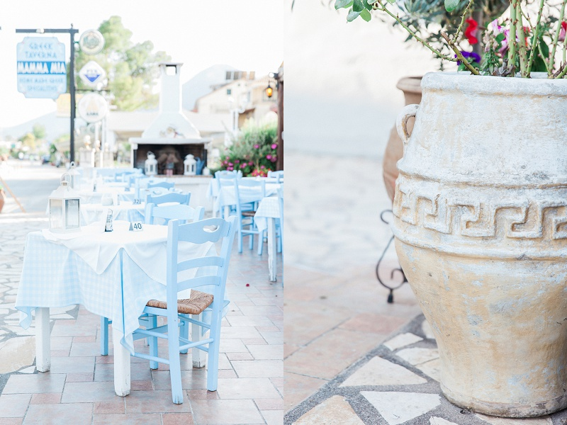 Blue and White Chairs and Greek Pots at Mamma Mia Taverna