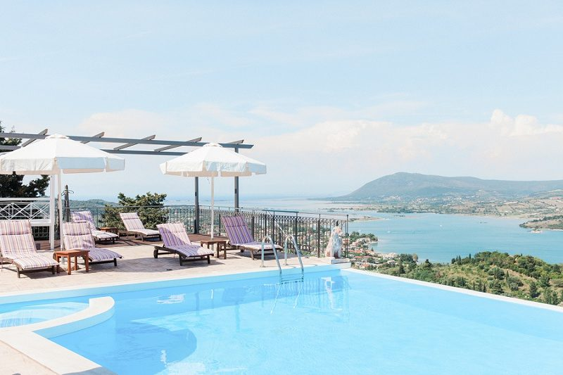 Sunloungers and Beautiful Views From The Villas At Thea Resort in Lefkada