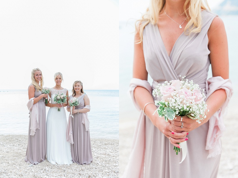Bride with Bridesmaids and Close Up of Bridesmaids Bouquet
