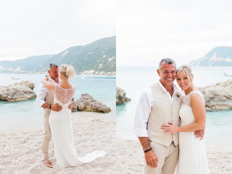 Bride and Groom Portraits on the Beach at Agios Nikitas