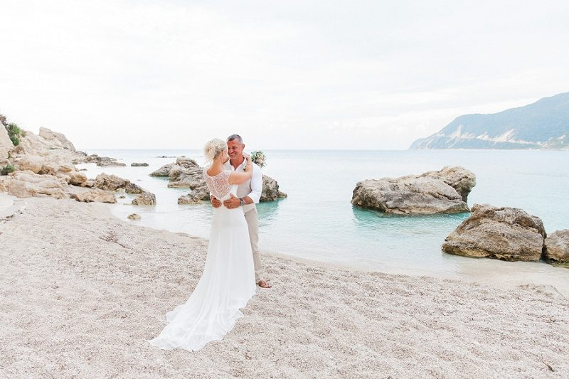 Bride and Groom Against Backdrop of the Sea at Agios Nikitas
