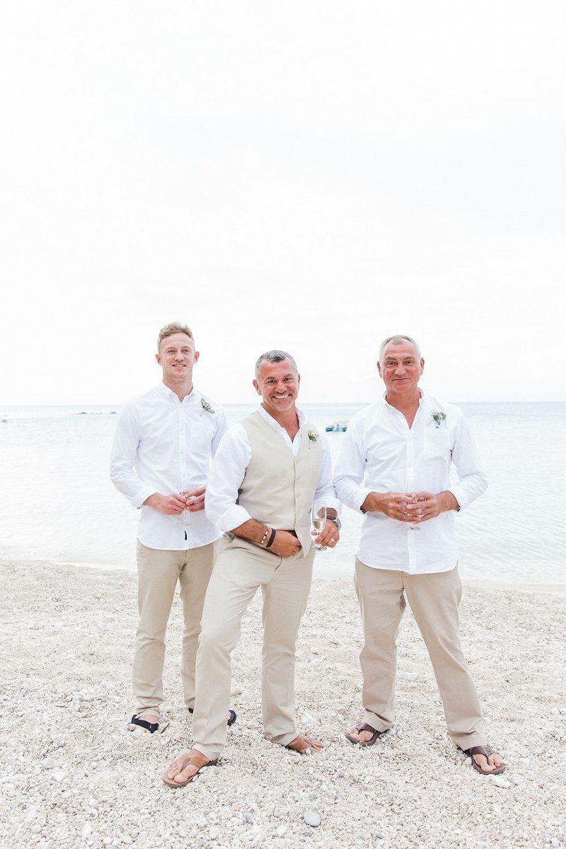 Groom and His Groomsmen On the Beach at Agios Nikitas