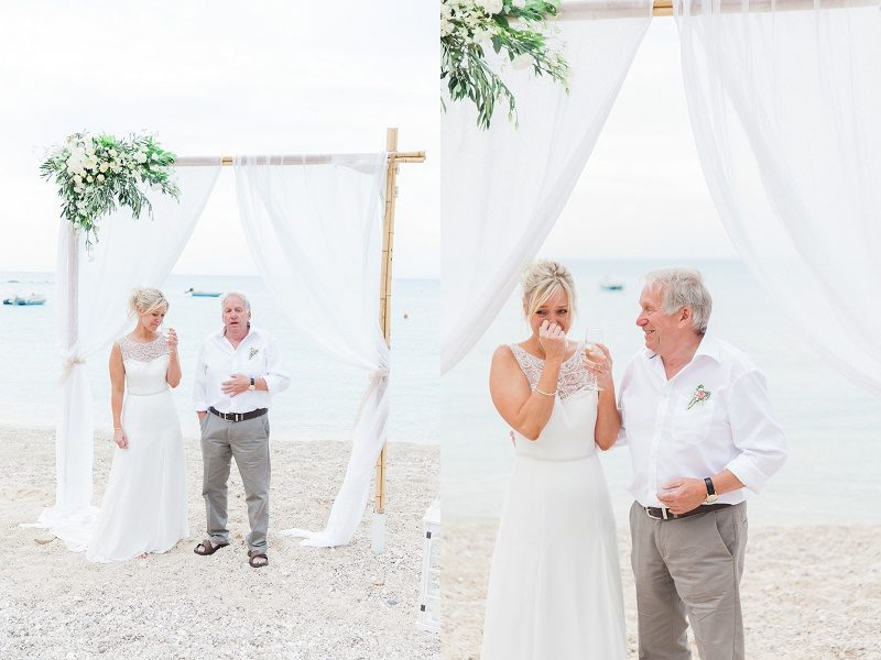 Bride Cries During Her Fathers Emotional Speech During Her Pastel Beach Wedding
