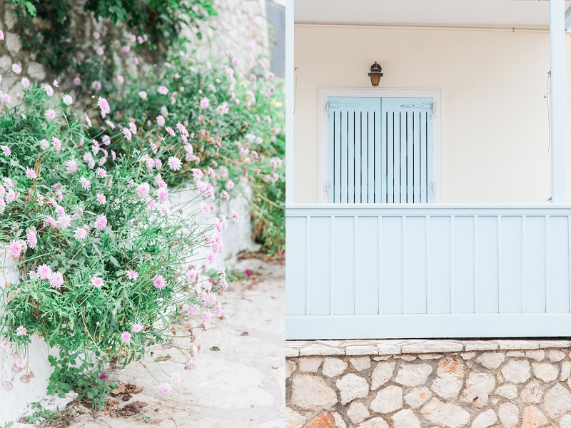Pink Flowers and Blue Shutters in Agios Nikitas Village