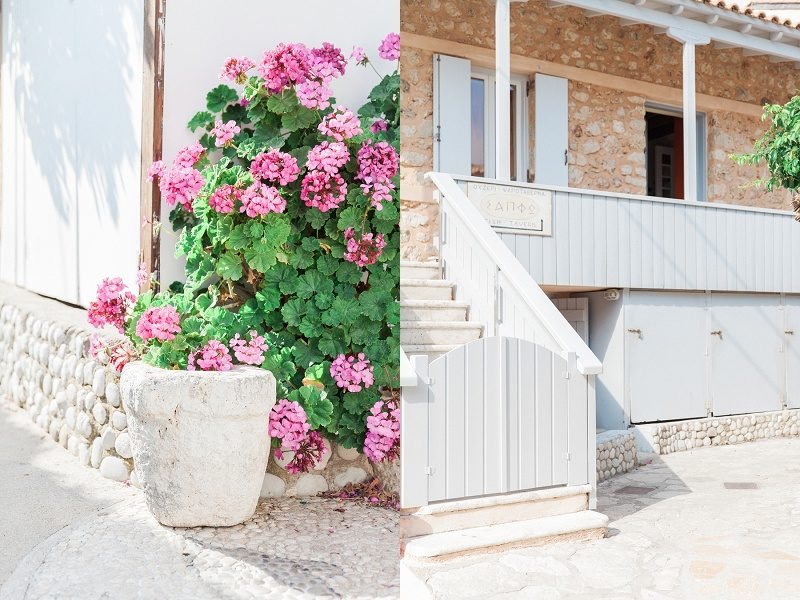 Pot of Pink Flowers and Blue Balconies in Agios Nikitas Lefkada