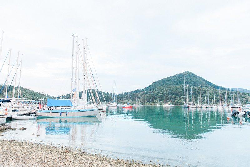 View of the Yachts at Mamma Mia Taverna in Nidri Lefkada