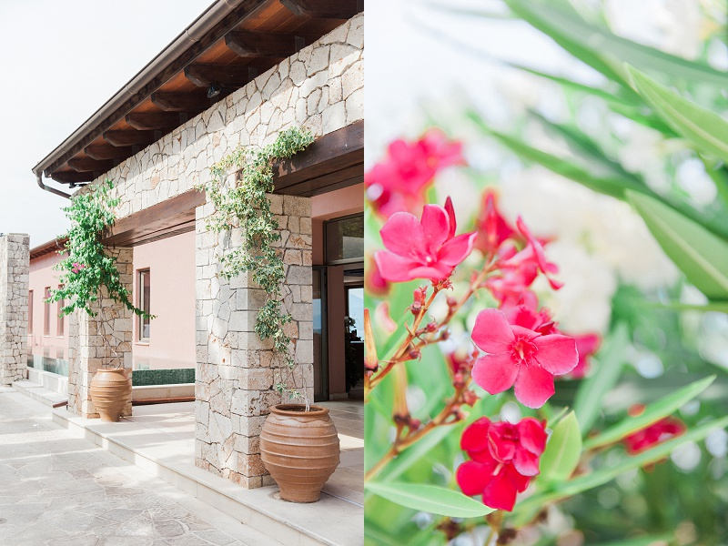 Stone Collumns and Red Flowers at the Entrance of Ionian Blue Hotel