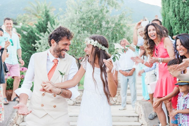 Couple Smiling During Confetti Throw