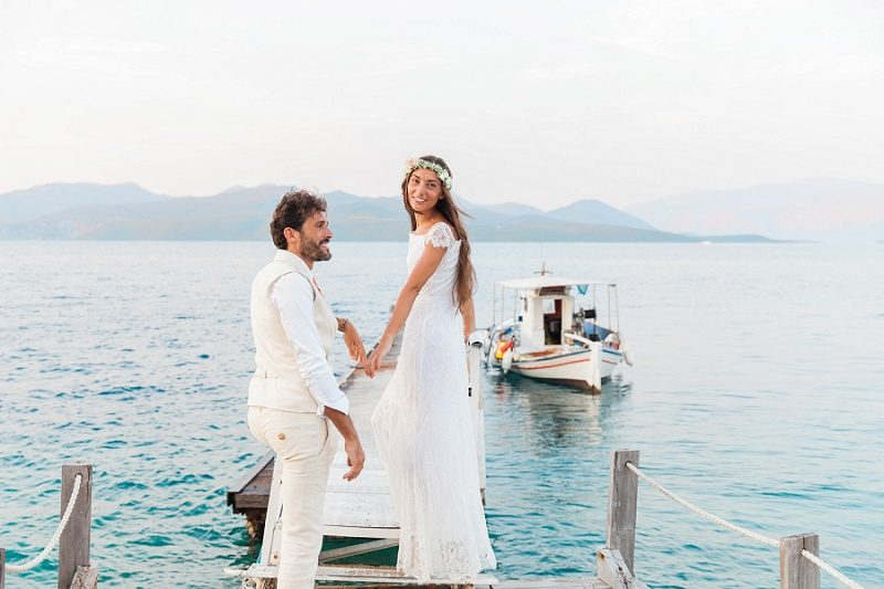 Portrait of Bohemian Bride and Groom on the Jetty at Ionian Blue Hotel