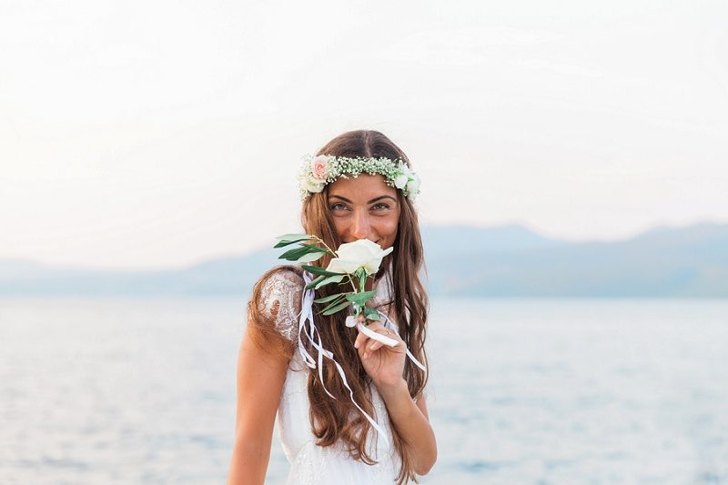 Bridal Portrait Against the Sea at Ionian Blue Hotel