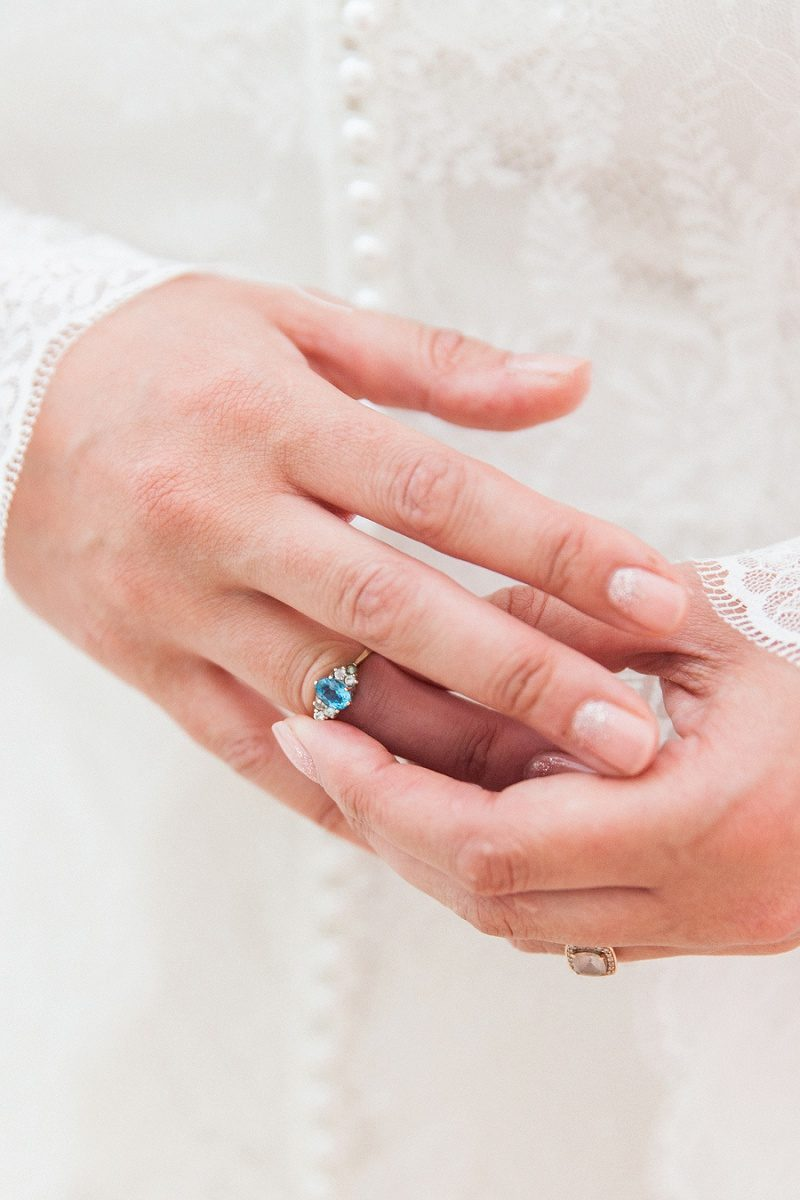 Blue Topaz Ring Worn By The Bride