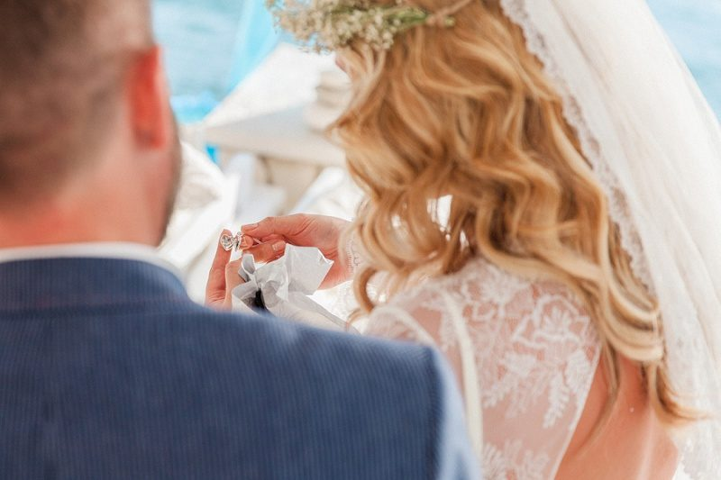 Groom and Bride Exchanging Gifts at SeaSide Restaurant in Geni, Lefkada