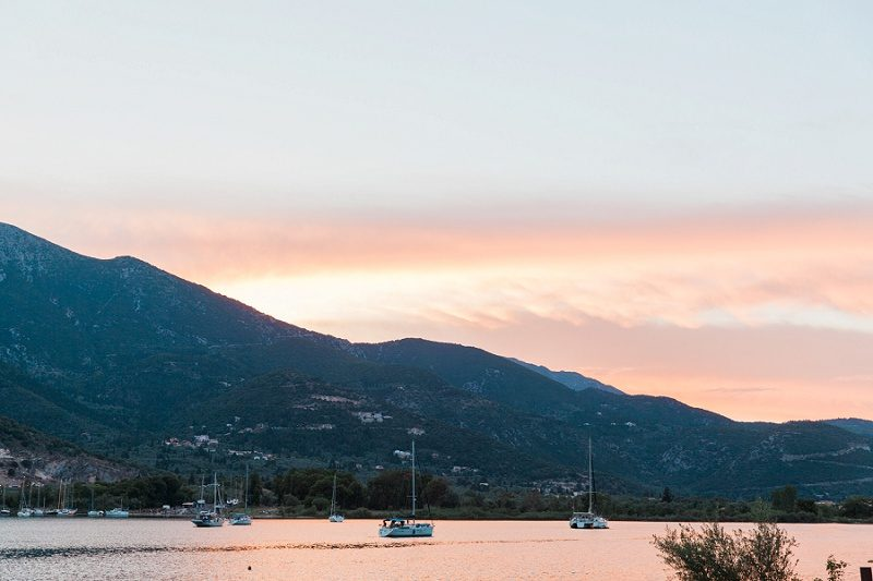 Yachts Under Pink Sunset in Geni Lefkada