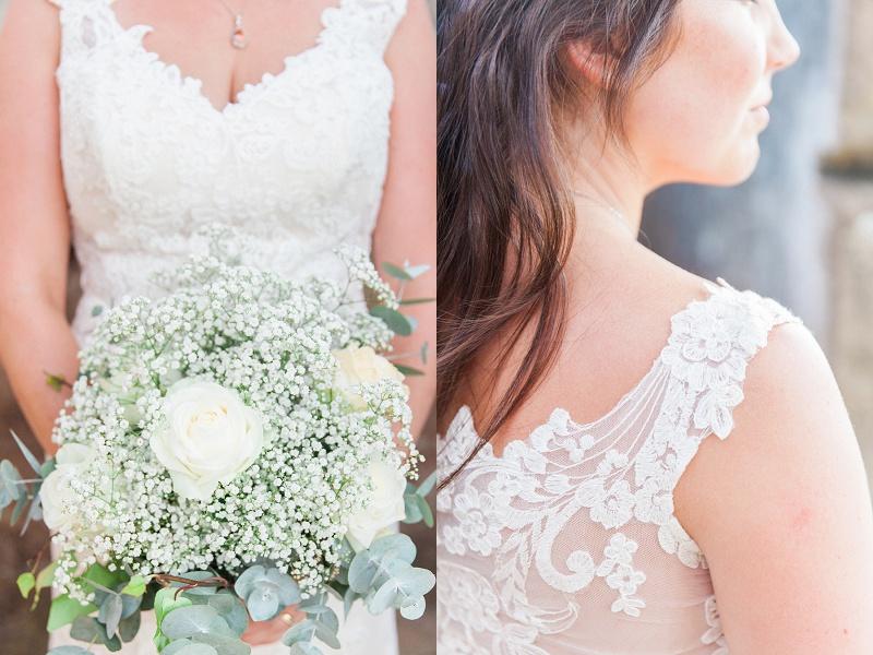 Brides Detailed Lace Straps and Bouquet
