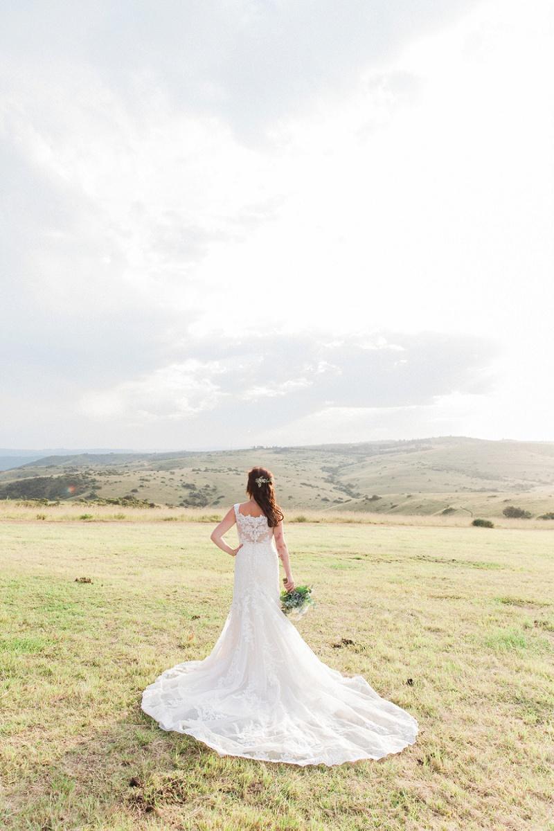Bride in Provonias Dress at Lake Eland Game Reserve