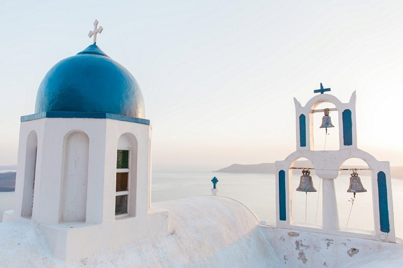 Blue and White Chuch on the Cliffs of Santorini