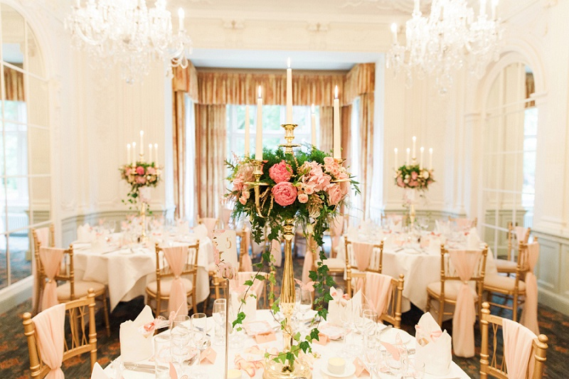 Beautiful Pastel Reception Decor and Tables by Brian Kirkby Flowers for a wedding at Warren House