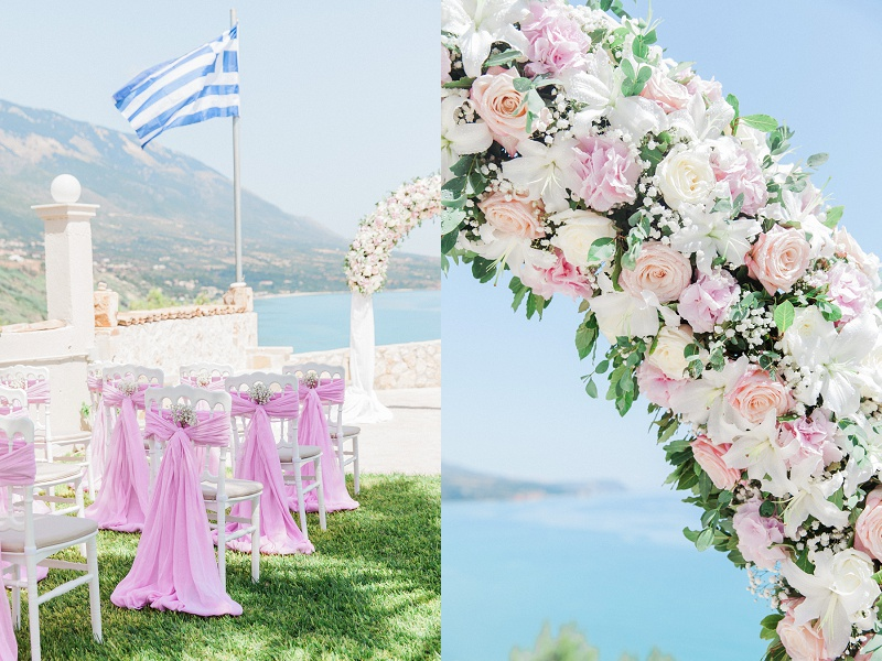 White chairs decorated with pink sashes and white flowers and a close up of the pink and white floral arch.