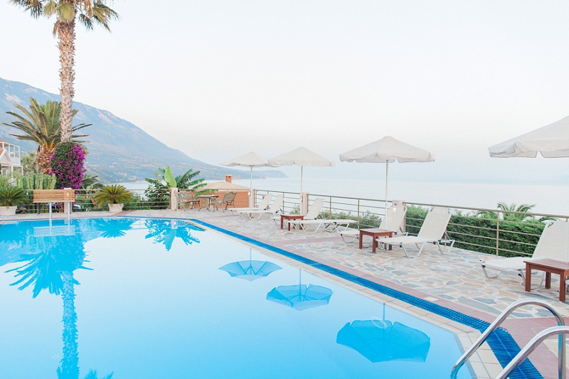 View of the Ionian Sea over the pool at Villa Rosa on Kefalonia