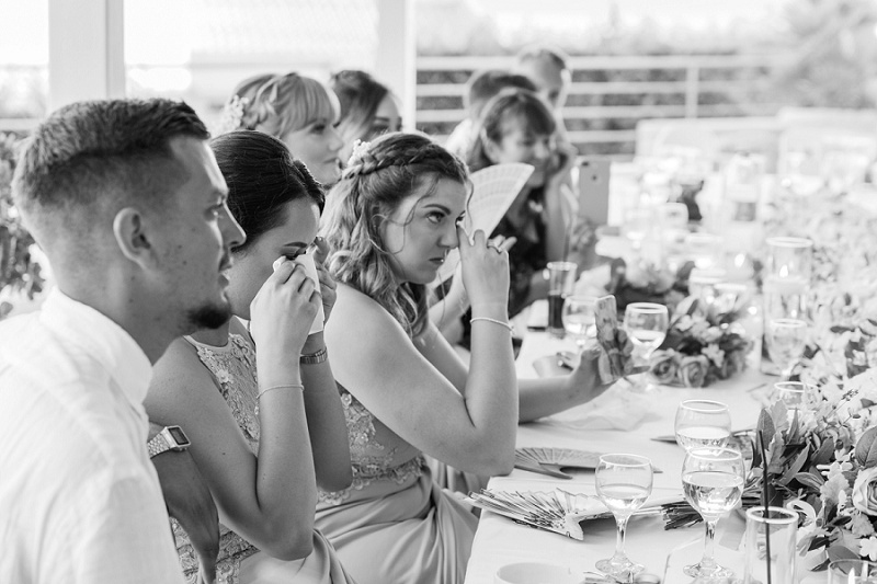 Emotional guests wiping their eyes during the father of the bride's speech