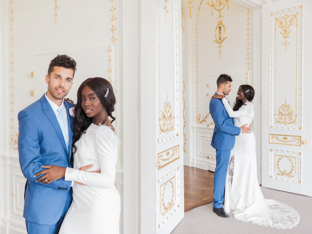 Mixed culter couple pose in the ornate doorway of 10-11 Carlon House Terrace on their wedding day