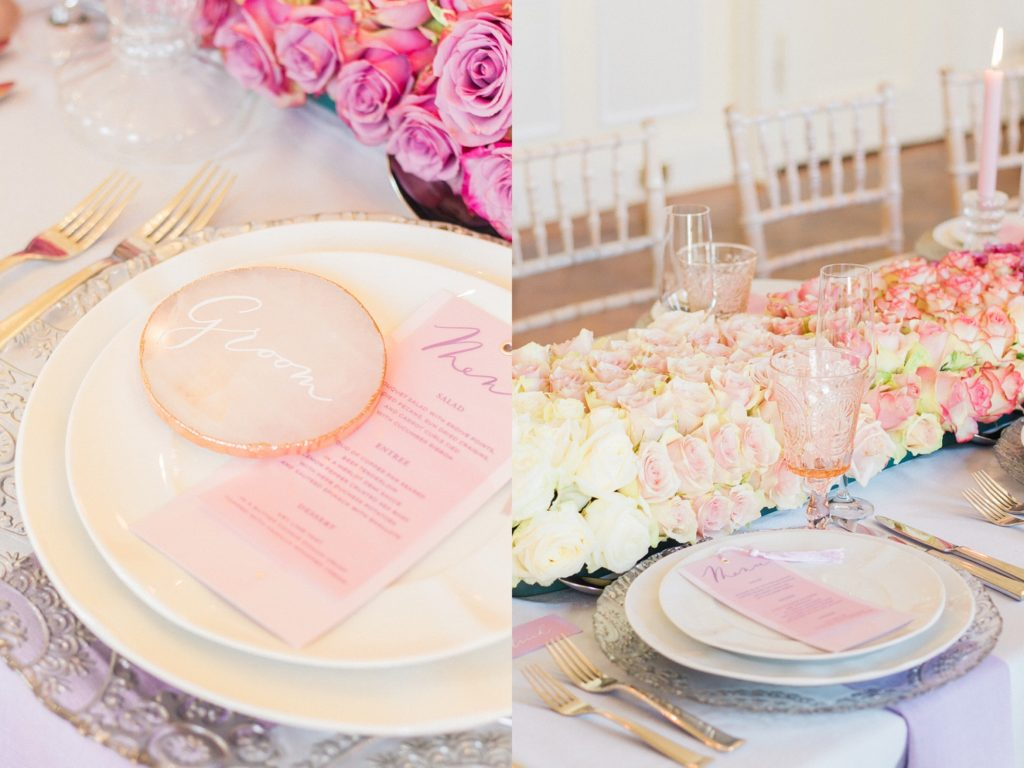 Pink ombre table decoration featuring David Austin roses and rose quartz calligraphy slices