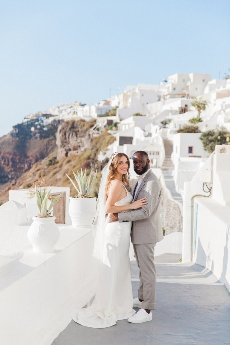 Miabella and Jean-Marc during their Dana Villas Santorini elopement in Greece