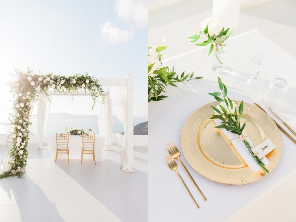 Reception table set up under the wedding arch on the balcony at Dana Villas Santorini and a table setting with gold, white and foliage details
