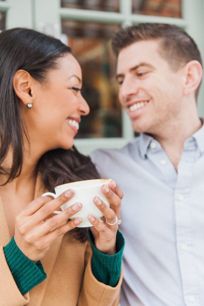 Couple share a laugh during their coffee at the Charlotte Street Hotel